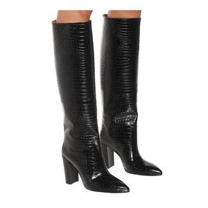 Paris Texas Knee High Croc Embossed Leather Boots